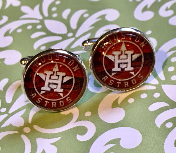 Houston Astros glass cabochon cufflinks - 16mm