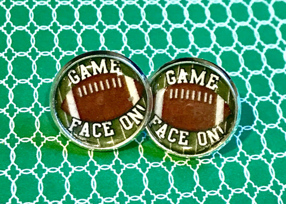 Football game face on cabochon earrings - 16mm