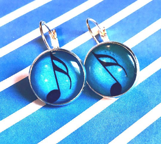16th note glass cabochon earrings - 16mm