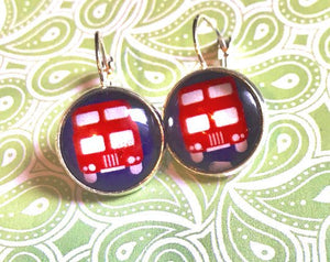 British double decker bus glass cabochon earrings - 16mm