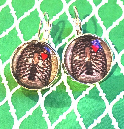 Skeleton with Heart glass cabochon earrings - 16mm