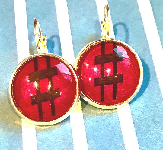 hashtag, pound, sharp sign glass cabochon earrings - 16mm