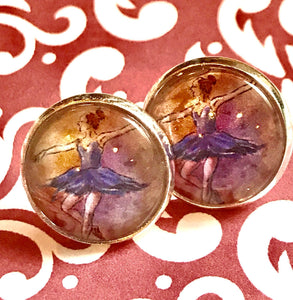Ballet Dancer glass cabochon earrings - 16mm