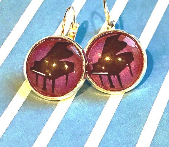 Piano glass cabochon earrings - 16mm