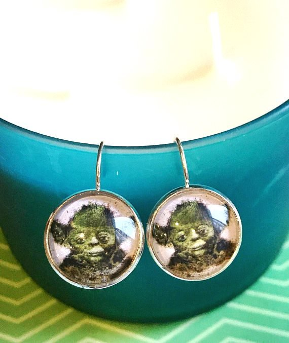 Yoda Star Wars cabochon earrings - 16mm