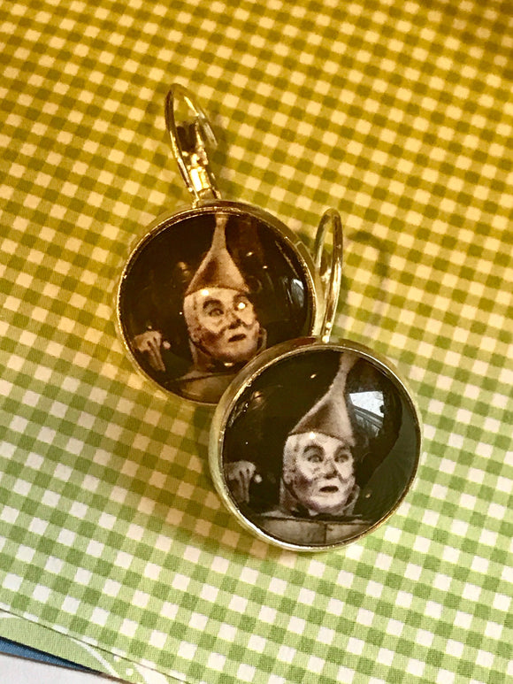 Wizard of Oz Tin Man cabochon earrings- 16mm