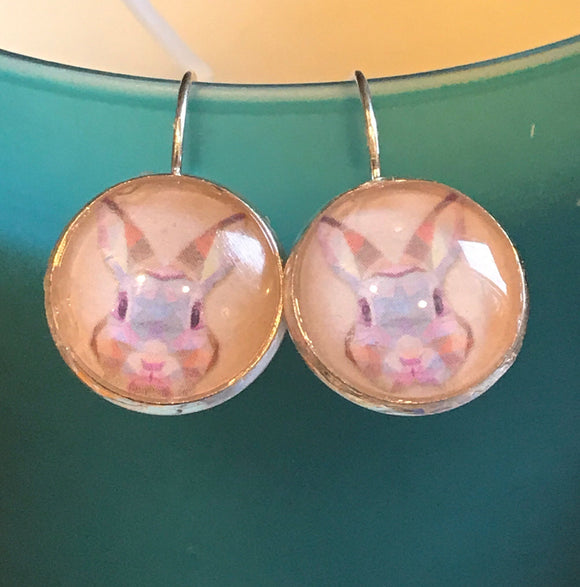 Easter Bunny cabochon earrings- 16mm