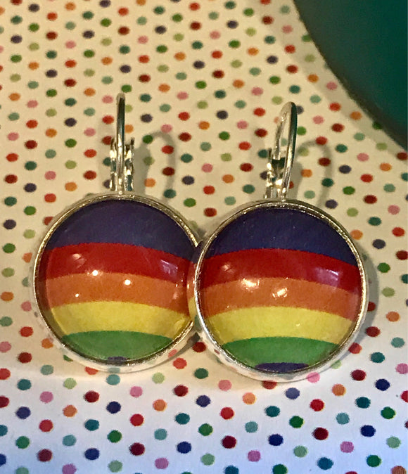 RainBow/Pride glass cabachon earrings - 16mm