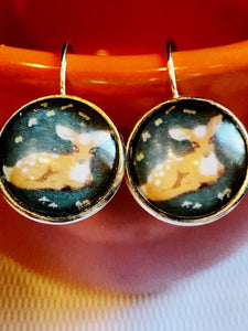Deer/fawn cabachon earrings - 16mm