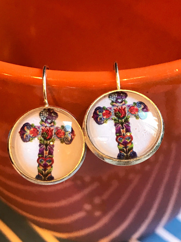 Floral mosaic Cross cabochon earrings - 16mm
