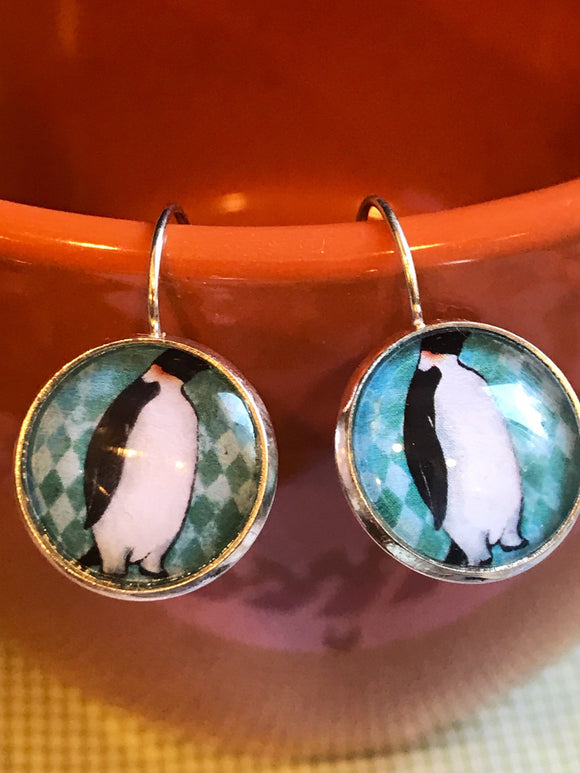 Penguin cabochon earrings - 16mm