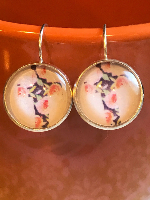 Floral Cross cabochon earrings - 16mm
