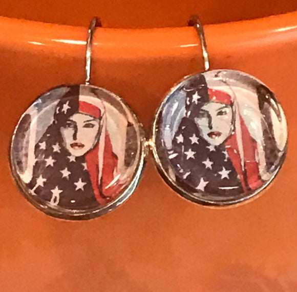 Muslim woman in American flag cabachon earrings - 16mm