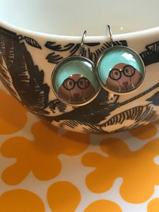 Dachsund glass cabochon earrings - 16mm