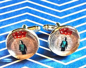 Banksy boy crying cabochon cufflinks - 16mm