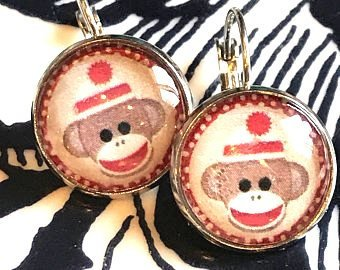 Sock monkey glass cabachon earrings - 16mm