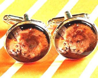 Lion cabachon cufflinks - 16mm