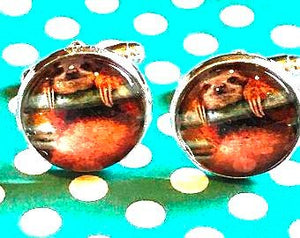 Sloth cabachon cufflinks - 16mm