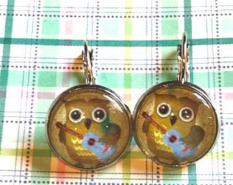 Owls with Guitars earrings - 16mm