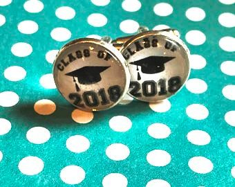Class of 2018 graduation cabochon cufflinks - 16mm