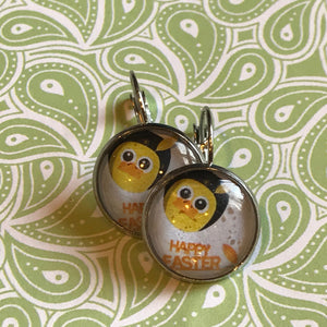 Easter chick cabochon earrings - 16mm