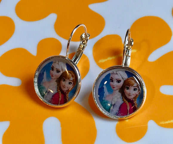 Elsa and Anna Frozen glass cabochon earrings - 16mm