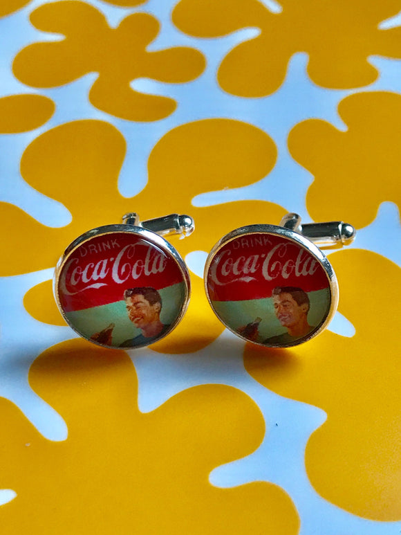 vintage Coca Cola glass cufflinks - 16mm