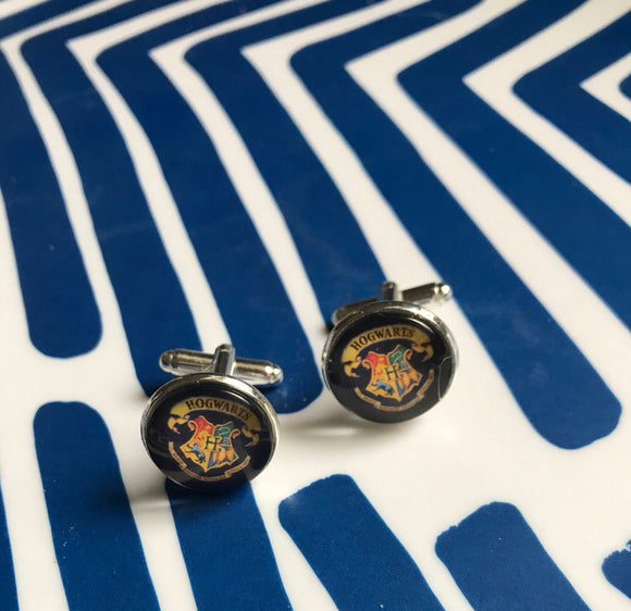 Hogwarts glass cabochon cufflinks - 16mm