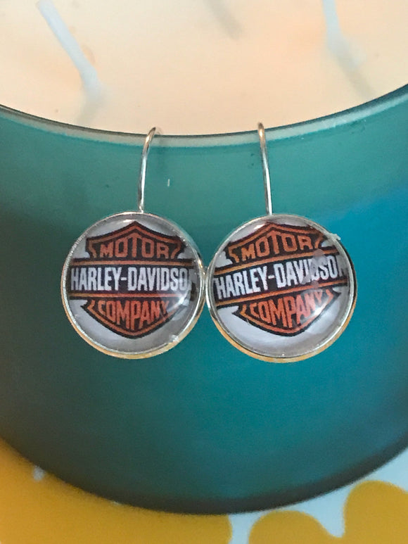 Harley Davidson glass cabochon earrings- 16mm