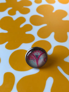Feminist glass cabochon lapel pin- 16mm