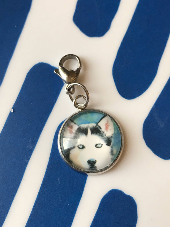 Husky Dog glass cabochon charm - 16mm
