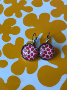 Strawberry glass cabochon earrings - 16mm