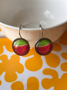 Watermelon glass cabochon earrings - 16mm