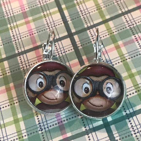 Curious George glass cabochon earrings - 16mm