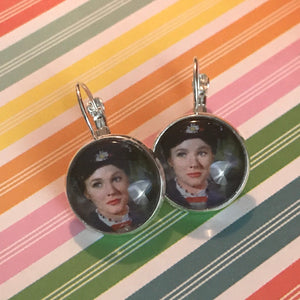Mary Poppins glass cabochon earrings - 16mm