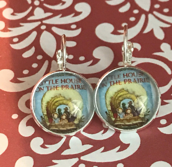 Little House on the Prairie book cover glass cabochon earrings - 16mm