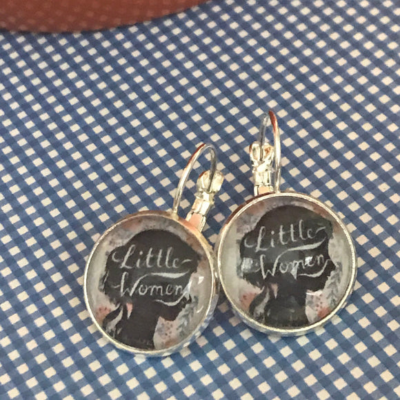 Little Women book cover glass cabochon earrings - 16mm