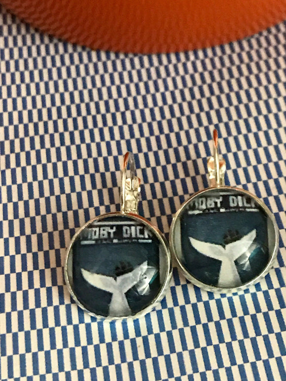 Moby Dick book cover glass cabochon earrings - 16mm