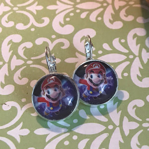 Super Mario glass cabochon earrings - 16mm