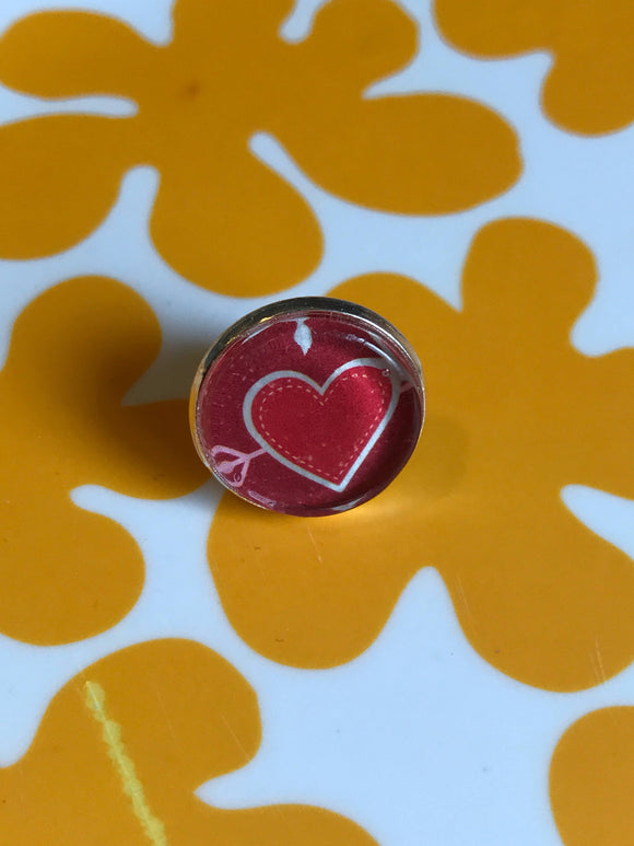 Valentine's Day Heart glass cabochon lapel pin- 16mm
