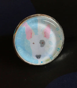 Bull terrier glass cabochon lapel pin- 16mm