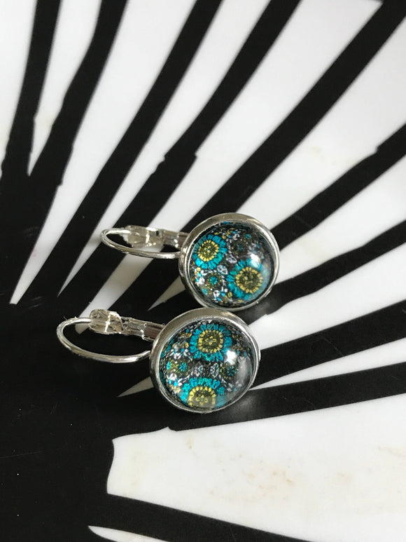 Turquoise, Green and Black cabochon earrings- 12mm