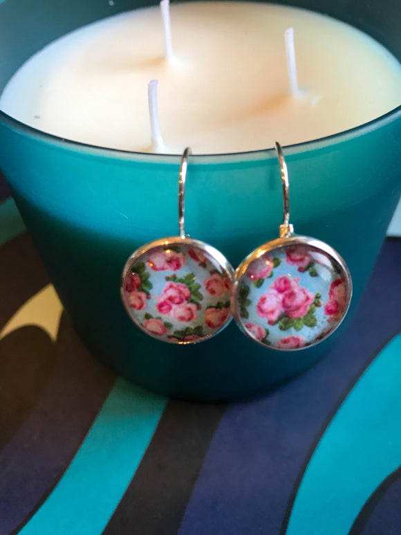 Roses Floral cabochon earrings- 16mm