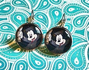 Mickey Mouse graduation cabochon earrings - 16mm