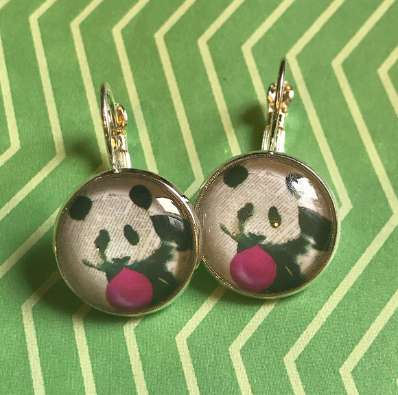 Panda bear with bubblegum glass cabochon earrings- 16mm