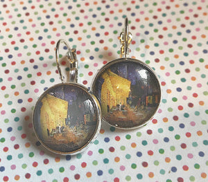 Van Gogh Cafe at Night cabochon earrings- 16mm