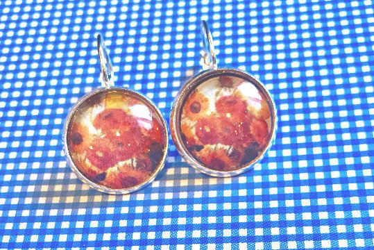 Van Gogh SunFlowers cabochon earrings- 16mm