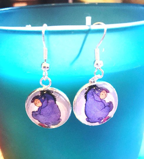 Eeyore cabochon earrings- 16mm