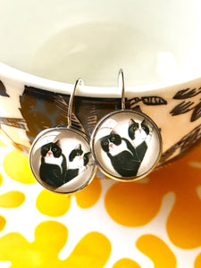 Tuxedo Cat cabochon earrings- 16mm