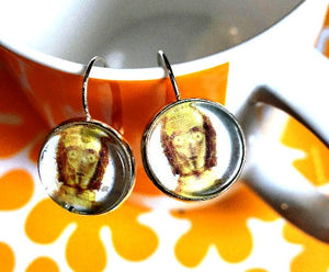 C3PO Star Wars cabochon earrings- 16mm